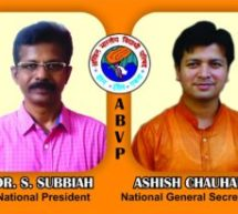 Dr. S. Subbiah and Ashish Chauhan elected as National President and General Secretary of ABVP