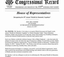 US House of Representatives recognizes Health for Humanity Yogathon