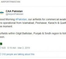 After two days Pakistan resumes its flight operations