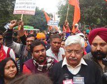 VHP – Bajrangdal protests at Pak High Commission against Nankana Sahib attack