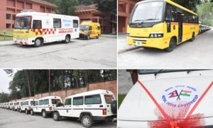 Gandhi Jayanti – Bharat gifts 41 ambulances, 6 school buses to Nepal