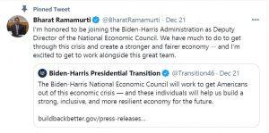 US – Bharat Ramamurti named as Deputy Director of National Economic Council member