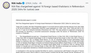 NIA Files Chargesheet Against 16 foreign based Khalistanis in Referendum 2020 ( Sikhs for Justice) Case
