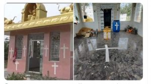Christian man painted 250 years old Amman temple with Christian Crosses