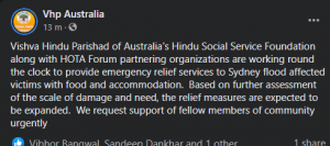 Seva Parmo Dharma – Hindu community opens their homes and temples to help and support flood affected people