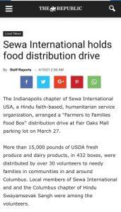 Sewa International holds food distribution drive