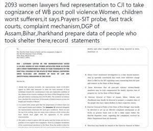 देश की 2000 से अधिक महिला अधिवक्ताओं ने मुख्य न्यायाधीश को भेजा ज्ञापन, एसआईटी का गठन कर हिंसक घटनाओं की निष्पक्ष जांच हो