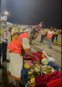 Chennai – A traditional puja and warm reception to Air France crew