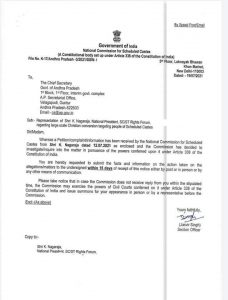 Andhra Pradesh – National Commission for Schedule Caste orders CS to Submit Report on large scale conversions in state